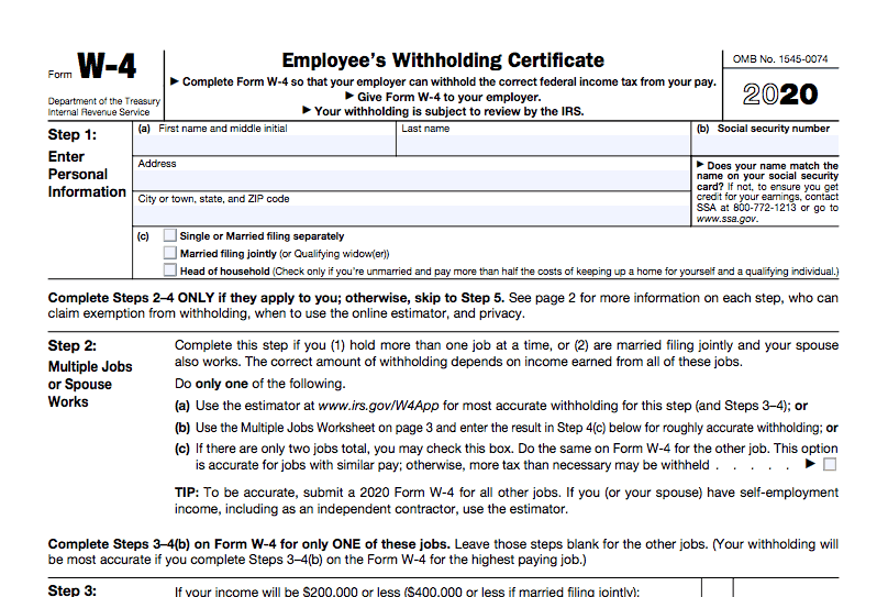W-4 2020 OFFICIAL IRS FORM