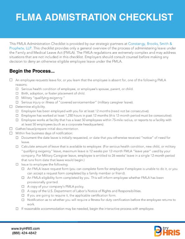 Checklist: FMLA Guidelines