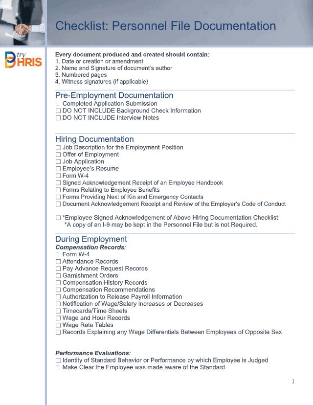 Checklist: Personnel File