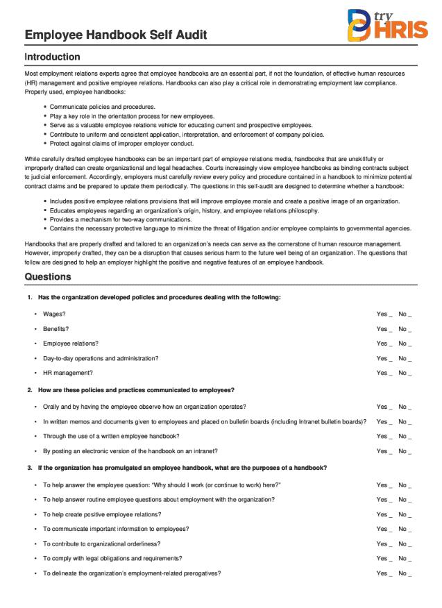 Self Audit: Employee Handbook