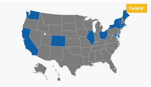 2019 Map of States Requiring Harassment Training
