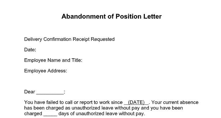 position abandonment letter
